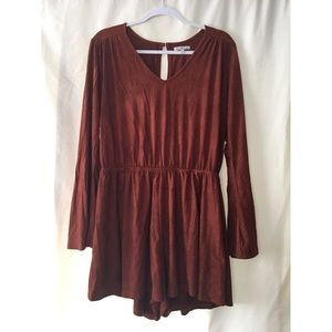 Brown wide/long sleeve romper